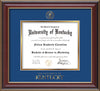 Image of University of Kentucky Diploma Frame - Cherry Lacquer - w/Embossed Seal & Wordmark - Royal Blue on Gold mat