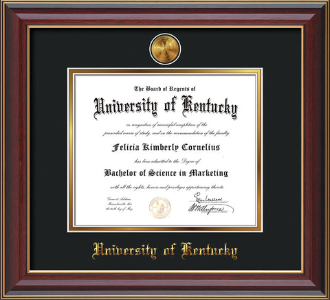 Image of University of Kentucky Diploma Frame - Cherry Lacquer - w/24k Gold-Plated Medallion UKY Name Embossing - Black on Gold mats