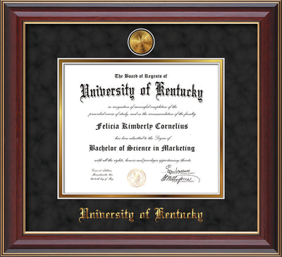 Image of University of Kentucky Diploma Frame - Cherry Lacquer - w/24k Gold-Plated Medallion UKY Name Embossing - Black Suede on Gold mats