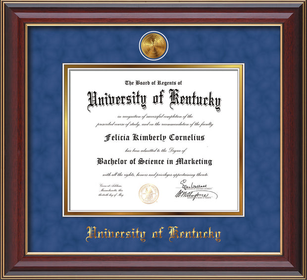Image of University of Kentucky Diploma Frame - Cherry Lacquer - w/24k Gold-Plated Medallion UKY Name Embossing - Royal Blue Suede on Gold mats
