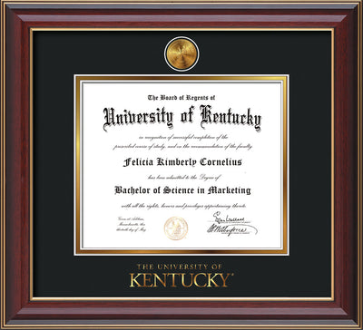 Image of University of Kentucky Diploma Frame - Cherry Lacquer - w/24k Gold-Plated Medallion UKY Wordmark Embossing - Black on Gold mats