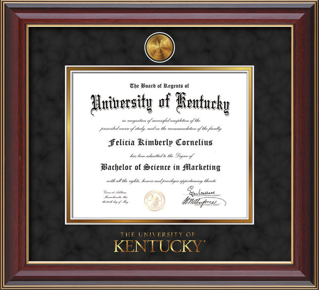 Image of University of Kentucky Diploma Frame - Cherry Lacquer - w/24k Gold-Plated Medallion UKY Wordmark Embossing - Black Suede on Gold mats