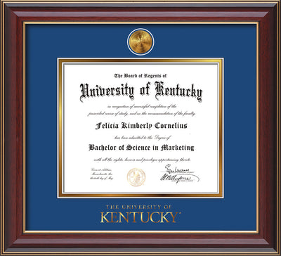 Image of University of Kentucky Diploma Frame - Cherry Lacquer - w/24k Gold-Plated Medallion UKY Wordmark Embossing - Royal Blue on Gold mats