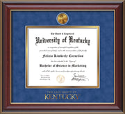 Image of University of Kentucky Diploma Frame - Cherry Lacquer - w/24k Gold-Plated Medallion UKY Wordmark Embossing - Royal Blue Suede on Gold mats
