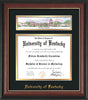 Image of the University of Kentucky Diploma Frame - Rosewood w/Gold Lip - w/Embossed School Name - Campus Collage - Black on Gold mat