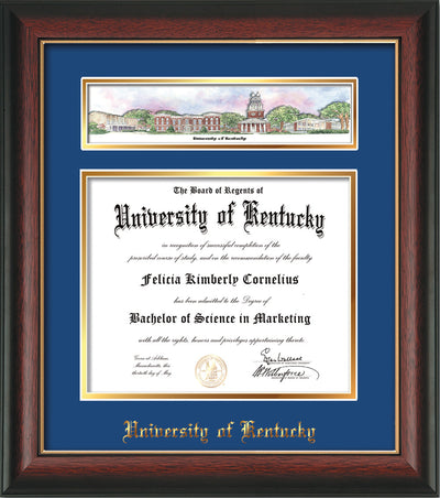 Image of the University of Kentucky Diploma Frame - UKy - Rosewood w/Gold Lip - w/Embossed School Name - Campus Collage - Blue on Gold mat