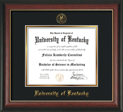 Image of University of Kentucky Diploma Frame - Rosewood w/Gold Lip - w/Embossed Seal & Name - Black on Gold mat