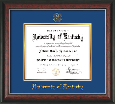 Image of University of Kentucky Diploma Frame - Rosewood w/Gold Lip - w/Embossed Seal & Name - Royal Blue on Gold mat
