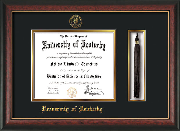 Image of University of Kentucky Diploma Frame - Rosewood w/Gold Lip - w/Embossed Seal & Name - Tassel Holder - Black on Gold mat