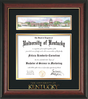 Image of University of Kentucky Diploma Frame - Rosewood w/Gold Lip - w/Embossed School Wordmark Only - Campus Collage - Black on Gold mat