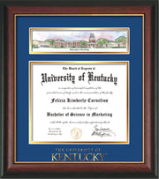 View of the University of Kentucky Diploma Frame - Rosewood w/Gold Lip - w/Embossed School Wordmark Only - Campus Collage - Royal Blue on Gold mat