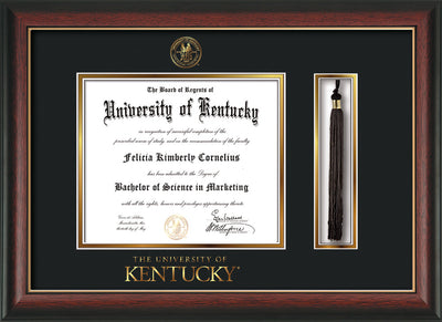 Image of University of Kentucky Diploma Frame - Rosewood w/Gold Lip - w/Embossed Seal & Wordmark - Tassel Holder - Black on Gold mat