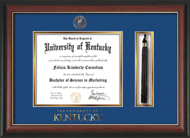Image of University of Kentucky Diploma Frame - Rosewood w/Gold Lip - w/Embossed Seal & Wordmark - Tassel Holder - Royal Blue on Gold mat