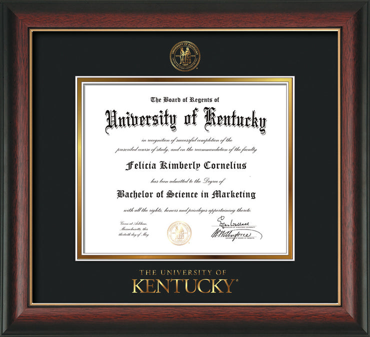 Image of University of Kentucky Diploma Frame - Rosewood w/Gold Lip - w/Embossed Seal & Wordmark - Black on Gold mat