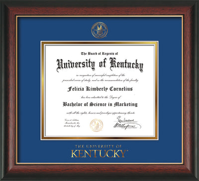 Image of University of Kentucky Diploma Frame - Rosewood w/Gold Lip - w/Embossed Seal & Wordmark - Royal Blue on Gold mat