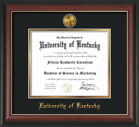 Image of University of Kentucky Diploma Frame - Rosewood w/Gold Lip - w/24k Gold-Plated Medallion UKY Name Embossing - Black on Gold mats