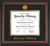 Image of University of Kentucky Diploma Frame - Rosewood w/Gold Lip - w/24k Gold-Plated Medallion UKY Name Embossing - Black Suede on Gold mats