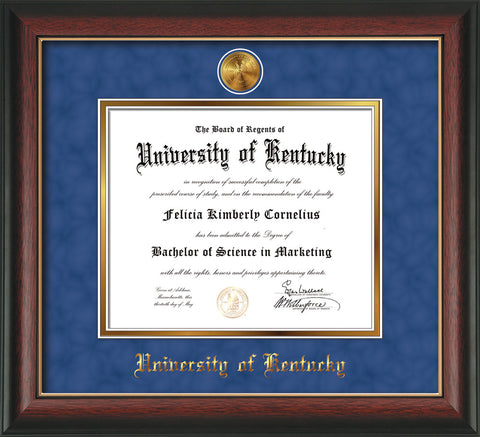 Image of University of Kentucky Diploma Frame - Rosewood w/Gold Lip - w/24k Gold-Plated Medallion UKY Name Embossing - Royal Blue Suede on Gold mats