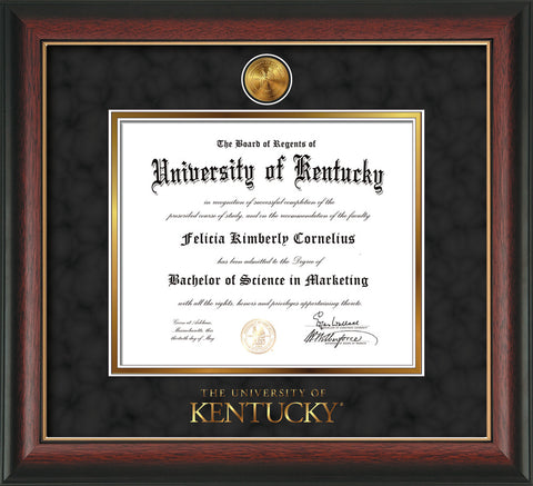 Image of University of Kentucky Diploma Frame - Rosewood w/Gold Lip - w/24k Gold-Plated Medallion UKY Wordmark Embossing - Black Suede on Gold mats