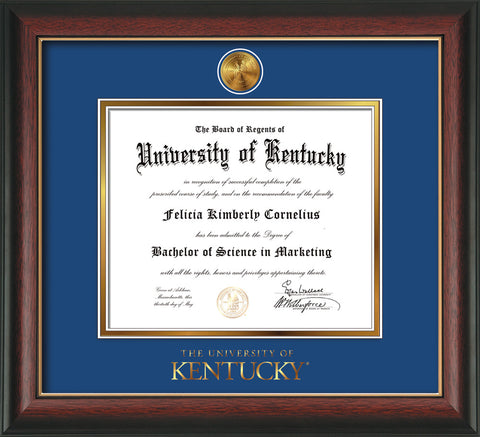 Image of University of Kentucky Diploma Frame - Rosewood w/Gold Lip - w/24k Gold-Plated Medallion UKY Wordmark Embossing - Royal Blue on Gold mats