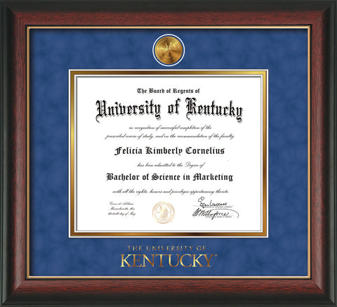 Image of University of Kentucky Diploma Frame - Rosewood w/Gold Lip - w/24k Gold-Plated Medallion UKY Wordmark Embossing - Royal Blue Suede on Gold mats