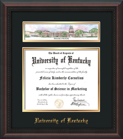 Image of the University of Kentucky Diploma Frame - Mahogany Braid - w/Embossed School Name - Campus Collage - Black on Gold mat