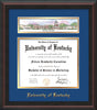 Image of the University of Kentucky Diploma Frame - Mahogany Braid - w/Embossed School Name - Campus Collage - Royal Blue on Gold mat