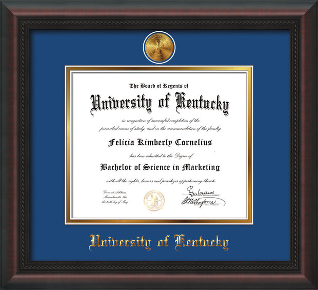 Image of University of Kentucky Diploma Frame - Mahogany Braid - w/24k Gold-Plated Medallion UKY Name Embossing - Royal Blue on Gold mats