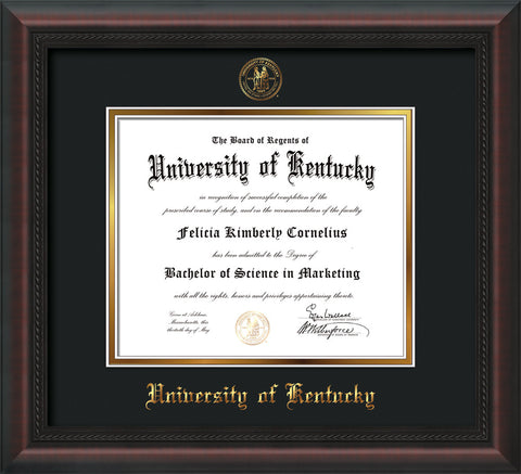 Image of University of Kentucky Diploma Frame - Mahogany Braid - w/Embossed Seal & Name - Black on Gold mat