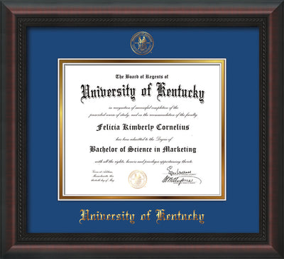 Image of University of Kentucky Diploma Frame - Mahogany Braid - w/Embossed Seal & Name - Royal Blue on Gold mat
