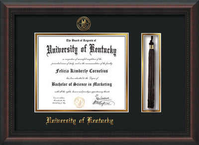 Image of University of Kentucky Diploma Frame - Mahogany Braid - w/Embossed Seal & Name - Tassel Holder - Black on Gold mat
