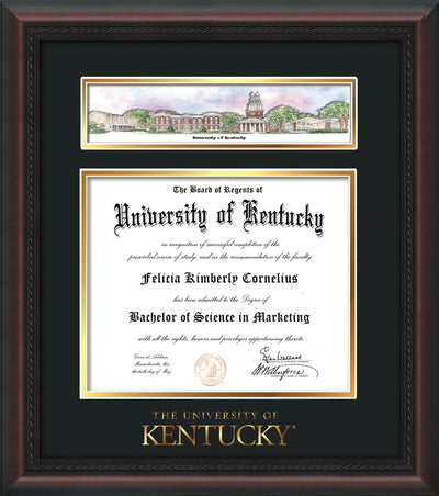 Image of University of Kentucky Diploma Frame - Mahogany Braid - w/Embossed School Wordmark Only - Campus Collage - Black on Gold mat
