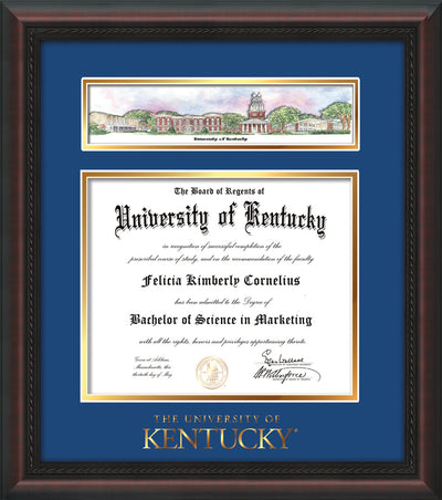 Image of University of Kentucky Diploma Frame - Mahogany Braid - w/Embossed School Wordmark Only - Campus Collage - Royal Blue on Gold mat