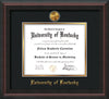 Image of University of Kentucky Diploma Frame - Mahogany Braid - w/24k Gold-Plated Medallion UKY Name Embossing - Black on Gold mats
