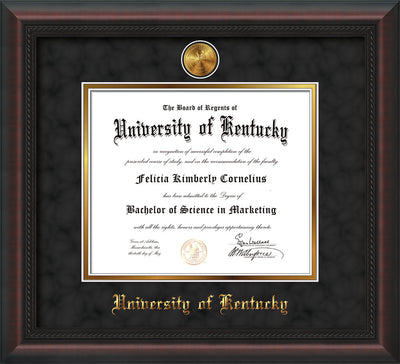 Image of University of Kentucky Diploma Frame - Mahogany Braid - w/24k Gold-Plated Medallion UKY Name Embossing - Black Suede on Gold mats