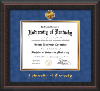 Image of University of Kentucky Diploma Frame - Mahogany Braid - w/24k Gold-Plated Medallion UKY Name Embossing - Royal Blue Suede on Gold mats