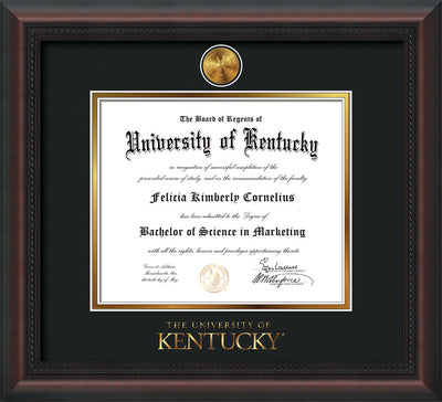 Image of University of Kentucky Diploma Frame - Mahogany Braid - w/24k Gold-Plated Medallion UKY Wordmark Embossing - Black on Gold mats