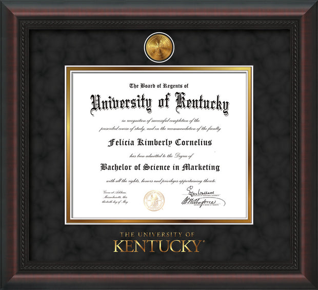 Image of University of Kentucky Diploma Frame - Mahogany Braid - w/24k Gold-Plated Medallion UKY Wordmark Embossing - Black Suede on Gold mats