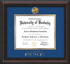 Image of University of Kentucky Diploma Frame - Mahogany Braid - w/24k Gold-Plated Medallion UKY Wordmark Embossing - Royal Blue on Gold mats