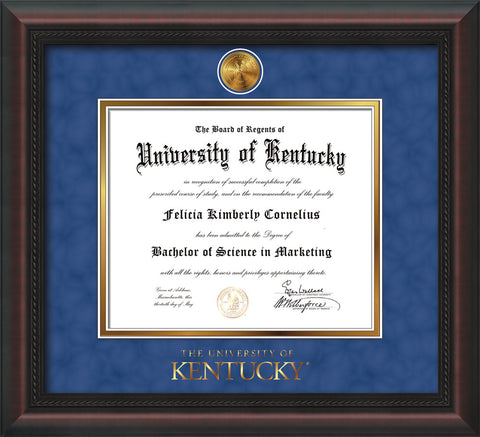 Image of University of Kentucky Diploma Frame - Mahogany Braid - w/24k Gold-Plated Medallion UKY Wordmark Embossing - Royal Blue Suede on Gold mats