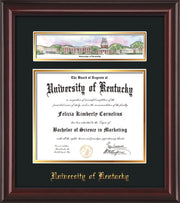 View of the University of Kentucky Diploma Frame - Mahogany Lacquer - w/Embossed School Name - Campus Collage - Black on Gold mat