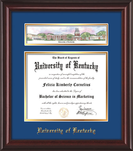 Image of University of Kentucky Diploma Frame - UKy - Mahogany Lacquer - w/Embossed School Name - Campus Collage - Blue on Gold mat