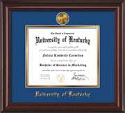 Image of University of Kentucky Diploma Frame - Mahogany Lacquer - w/24k Gold-Plated Medallion UKY Name Embossing - Royal Blue on Gold mats
