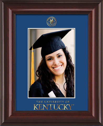 Image of University of Kentucky 5 x 7 Photo Frame - Mahogany Lacquer - w/Official Embossing of UKy Seal & Wordmark - Single Royal Blue mat