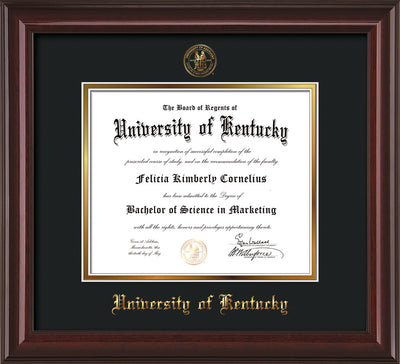 Image of University of Kentucky Diploma Frame - Mahogany Lacquer - w/Embossed Seal & Name - Black on Gold mat