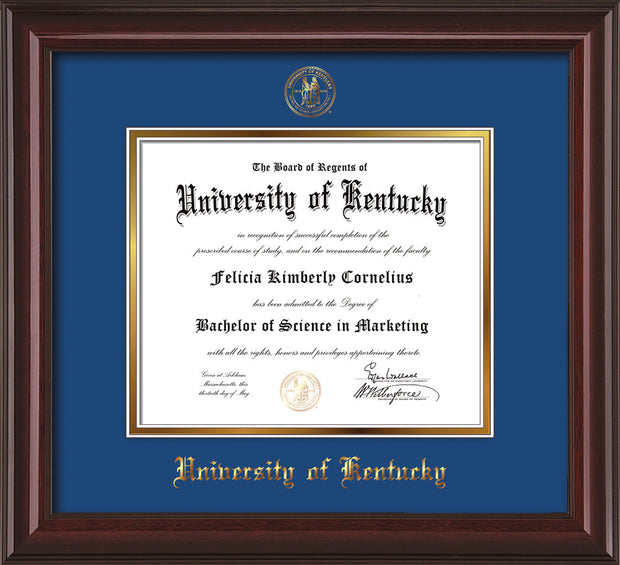 Image of University of Kentucky Diploma Frame - Mahogany Lacquer - w/Embossed Seal & Name - Royal Blue on Gold mat