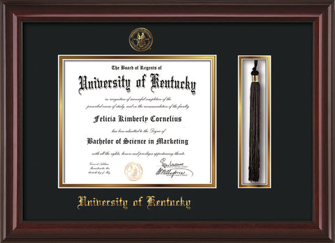 Image of University of Kentucky Diploma Frame - Mahogany Lacquer - w/Embossed Seal & Name - Tassel Holder - Black on Gold mat
