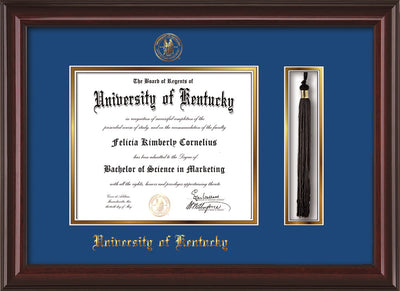 Image of University of Kentucky Diploma Frame - Mahogany Lacquer - w/Embossed Seal & Name - Tassel Holder - Royal Blue on Gold mat