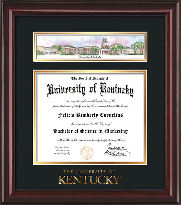 Image of University of Kentucky Diploma Frame - Mahogany Lacquer - w/Embossed School Wordmark Only - Campus Collage - Black on Gold mat