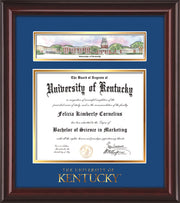 Image of University of Kentucky Diploma Frame - Mahogany Lacquer - w/Embossed School Wordmark Only - Campus Collage - Royal Blue on Gold mat